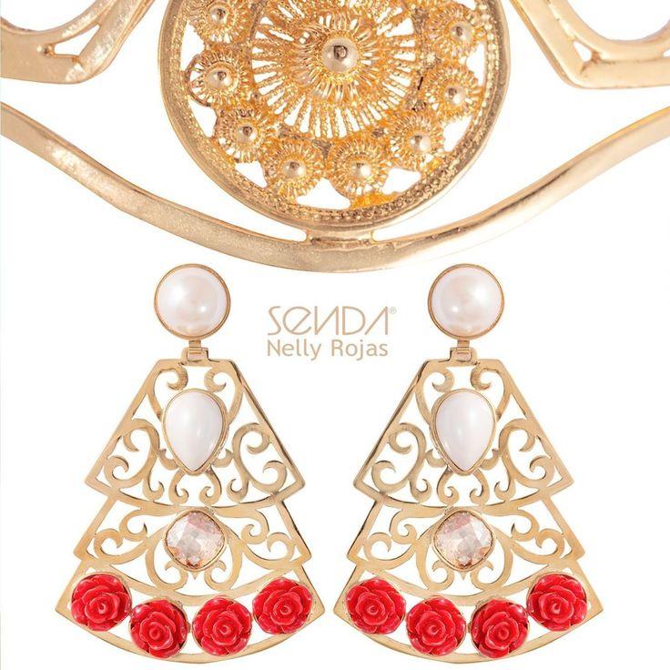 Gold jewelry bright as the sun!/ Joyas de oro que brillan como el sol #SendaNellyRojas #EsenciaCarmesi #Jewelry #Summer #FlamencoEarrings