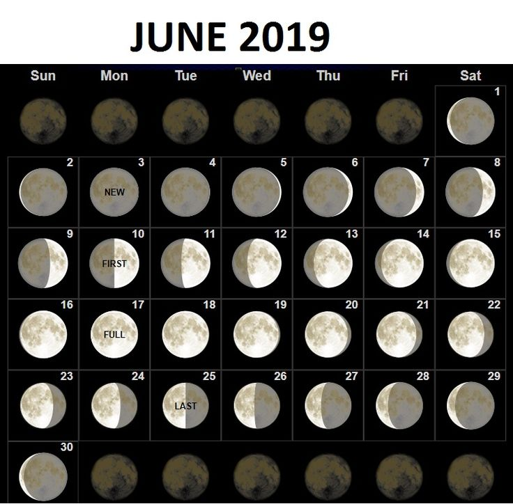 june 2019 moon phases calendar