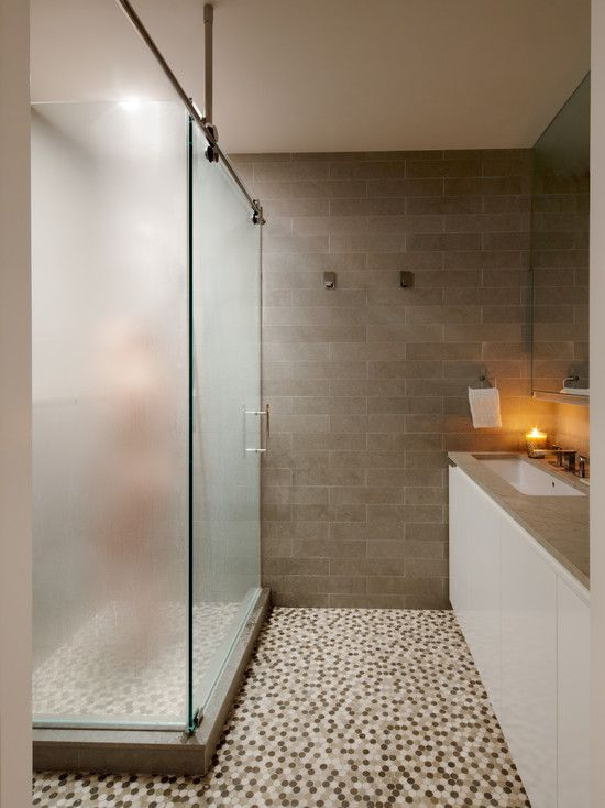bathroom penny round glass tiles design but a different colour
