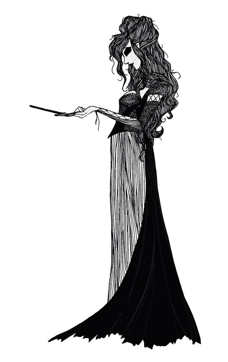 A beautifully gothic drawing of Bellatrix Lestrange: truly amazing