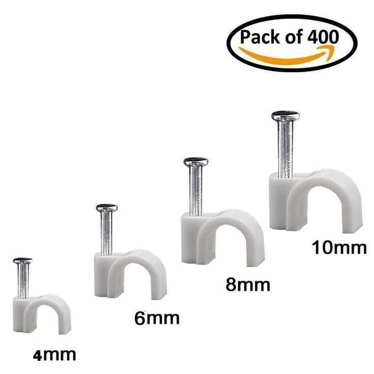 Wooopa Cable Wire Clips Assortment 4mm 6mm 8mm 10mm Cable Management Electrical Ethernet Dish TV Speaker Wire Cord Tie Holder Single Coaxial Nail Clamps-[ 400 Pcs]