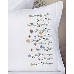 @Overstock.com - Stamped Embroidery Tall Flowers Pillowcases (Set of 2) - These beautiful stamped pillowcases will add a feminine touch to any bedding set. The cases feature delicate flowers that are hand-stitched. The numerous colors used in the flowers make the cases easy to match with any solid colored comforter set.  http://www.overstock.com/Crafts-Sewing/Stamped-Embroidery-Tall-Flowers-Pillowcases-Set-of-2/3410366/product.html?CID=214117 $10.99