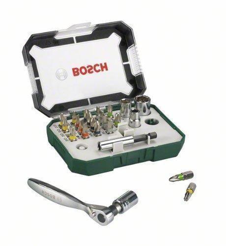 Oferta: 12.14€. Comprar Ofertas de Bosch 2607017322 - Set con 26 unidades para atornillar, incluye puntas, vasos y llave de carraca, color verde y gris barato. ¡Mira las ofertas!