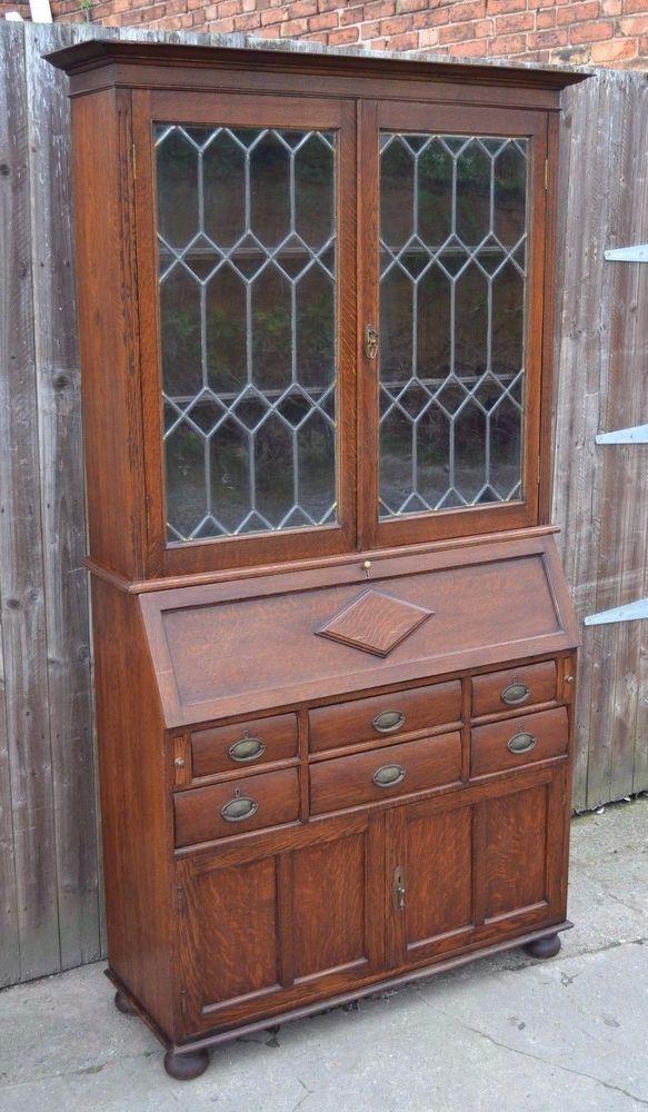Antique oak bureau bookcase arts and crafts laptop writing desk home office artsandcrafts bureaux