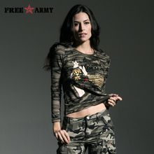 Fashion T Shirt Women Long Sleeve Spring Outdoors Camouflage Spring Autumn Lace Stitching Round Neck Women Tops Tees Gs-8366B(China (Mainland))