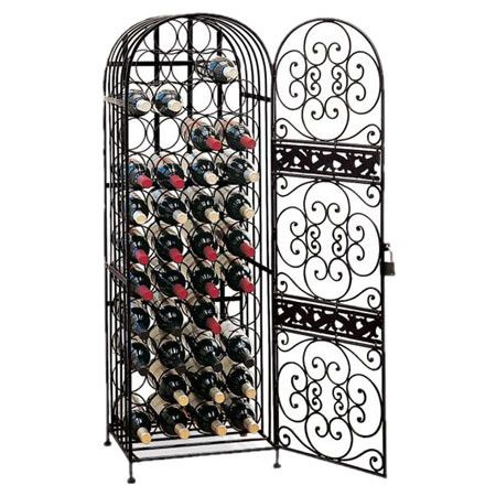 Wrought iron wine rack with a scrolling slide-lock door. Holds forty-five bottles.