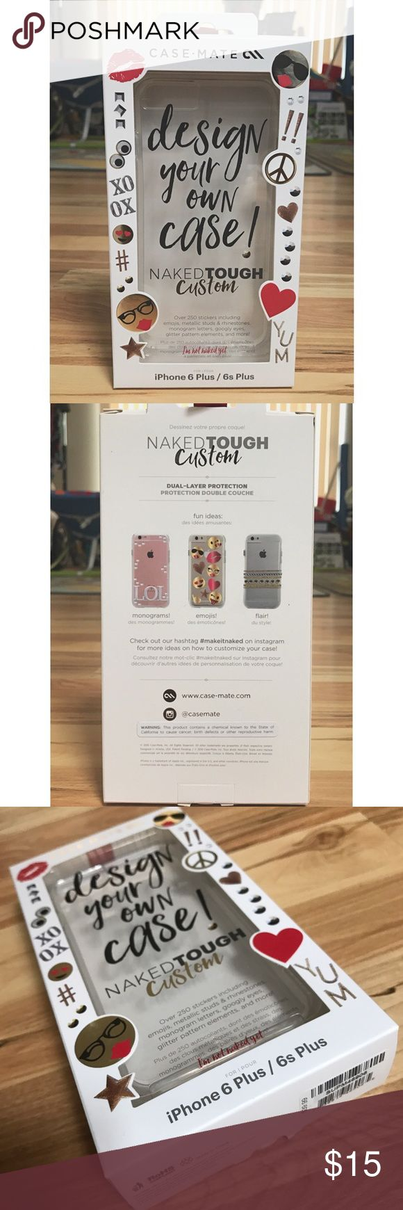Design Your Own Case Kit | Case Mate Design your own case kit that includes a clear case and 250 stickers (emojis, metallic studs & rhinestones, monogram letters, googly eyes, glitter pattern elements, and more!) | Kit for IPHONE 6 PLUS / 6s PLUS | Boxes are unopened | NWT Case Mate Accessories Phone Cases