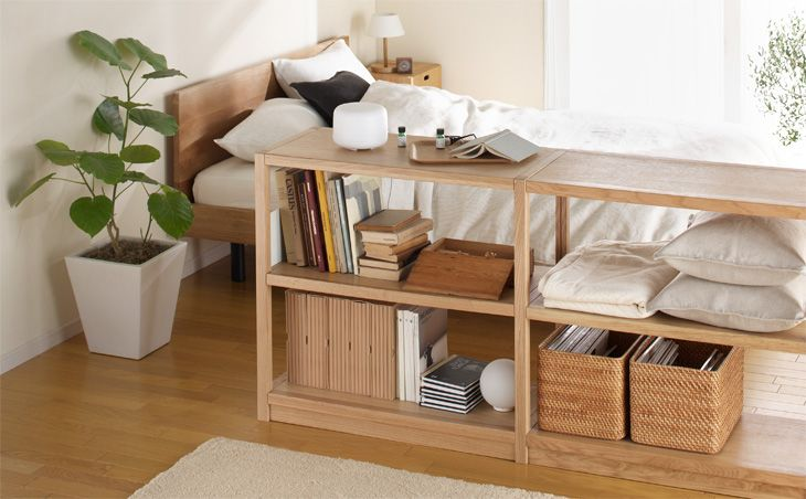 MUJI shelving and bedroom