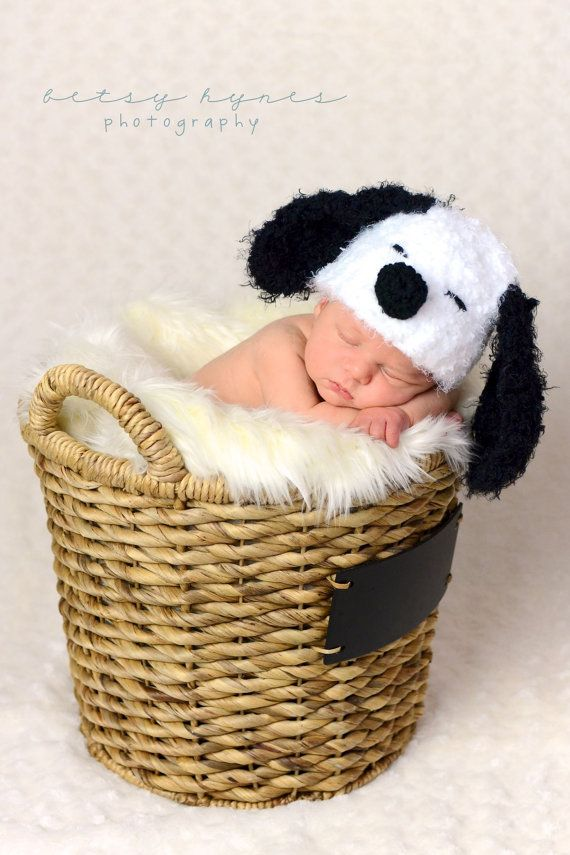 Soft and fuzzy  Snoopy Dog Crochet hat  Puppy  Hat, photography prop,0 to 3 months, crochet hat on Etsy, $24.03 CAD