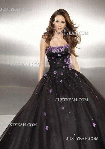 Strapless Applique Sleeveless Tulle Black Evening Dresses