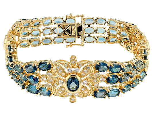 35.65ctw Oval London Blue Topaz and 4.25ctw White Topaz Yellow Gold Ov