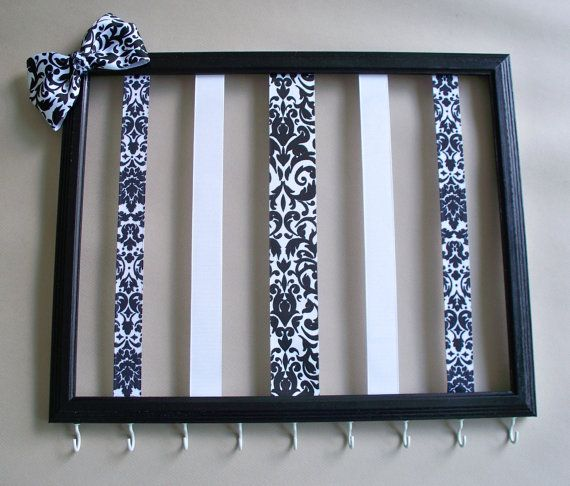 11x14 Picture frame hair bow holder and headband organizer, hair accessories organizer, hair clip holder, black and white girls room decor. Love with matching bathroom colors.