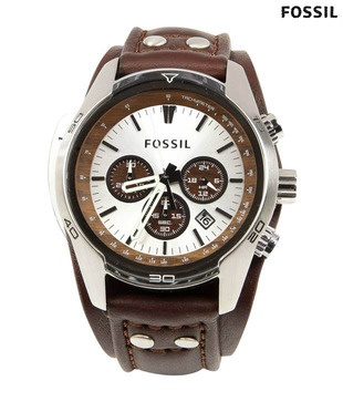 Bold Fossil brown white Leather Watch  http://www.snapdeal.com/product/lifestyle-watches/FossilBrow-67383?pos=3;213