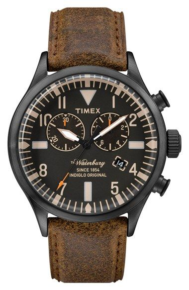 Timex® 'Waterbury' Chronograph Leather Strap Watch, 42mm available at #Nordstrom