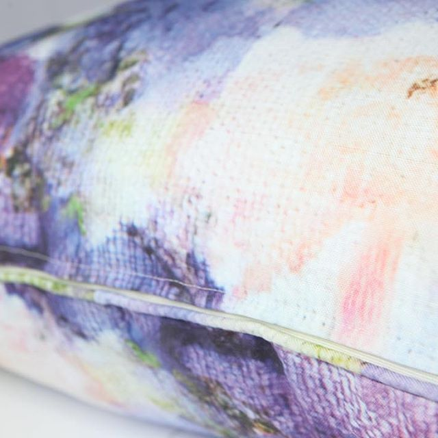 Floral cushion - Detail from the Vivid Violets cushion. Printed on a blend of cotton and linen…