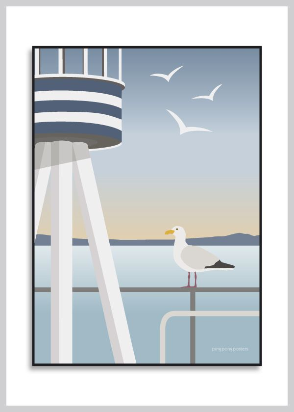 Sommerplakat: Summer Seagull fra Ping Pong Posters – køb her!