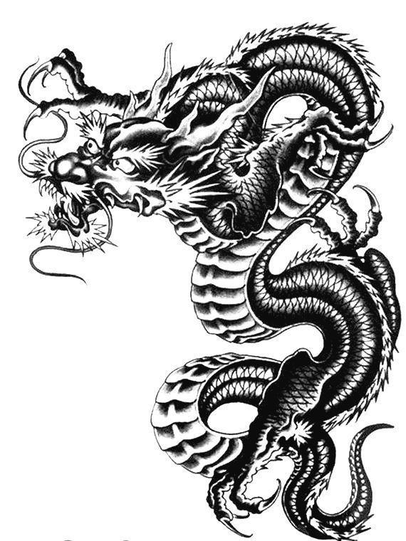 Large Temporary Black Dragon Japanese Tattoo Black Temporary Tattoo Japanese Tattoo Designs