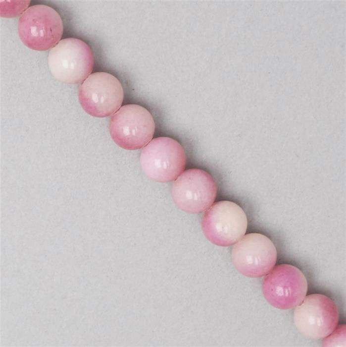 170cts Shaded Pink Colour Dyed Quartz Plain Rounds Approx 8mm, 35cm Strand.