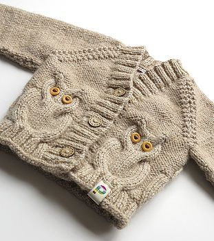 Oatmeal Baby Hand Knit Cardigan with Owl Cable