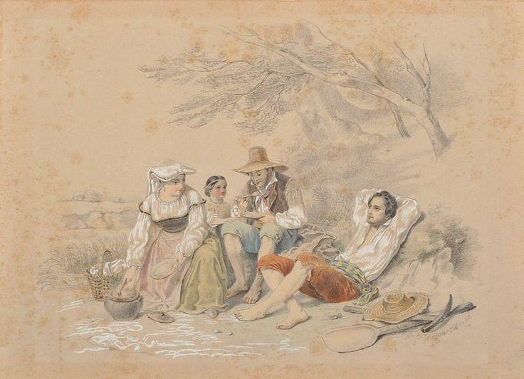 F.  Lorenzi - Lotto di due «Scene campestri» - Matita, biacca e acquerello su carta - cm. 24,5x33,9 l