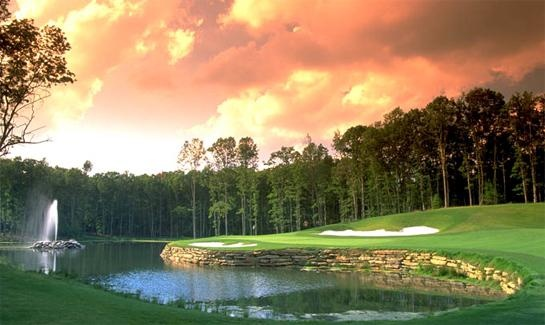 The breathtaking fourth green at The Resort at Glade Springs' beautiful Stonehaven Course.  More than one golf lover has proposed marriage using the splendor of the pond and fountain of this remarkable green as a romantic backdrop! (image via Bing image search / privatecommunities.com)