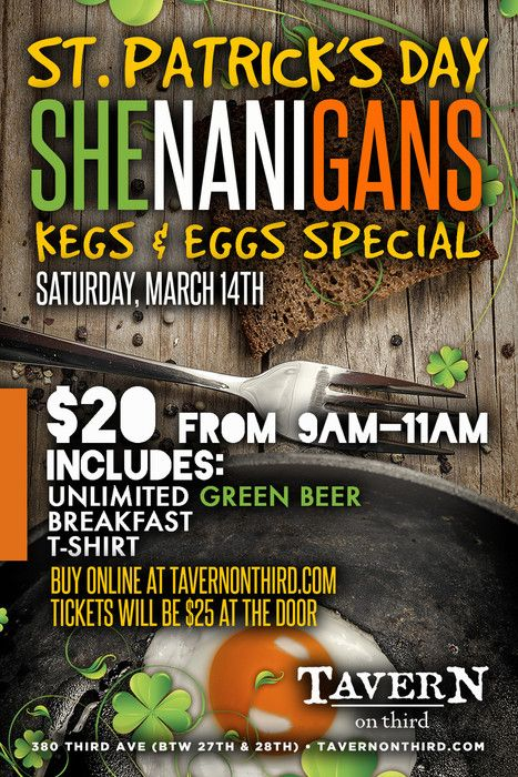 The ultimate Kegs and Eggs Shenanigans will be going down at TAVERN on Third this St.Patrick's Day! Join the best staff around for unlimited green beer and breakfast to get your day started off correctly.
