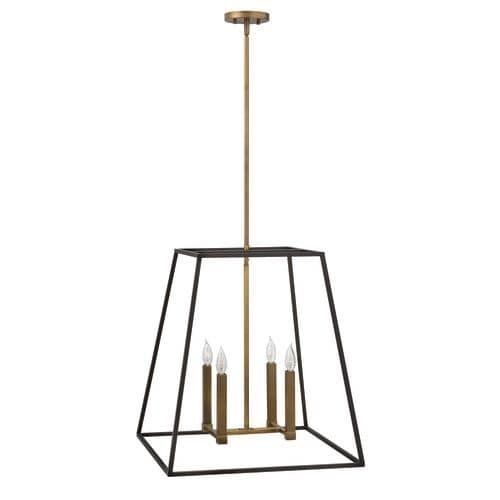 Hinkley Lighting 3336 4 Light 24.5 Height Indoor Lantern Pendant from the Fulton Collection, Gold (Steel)