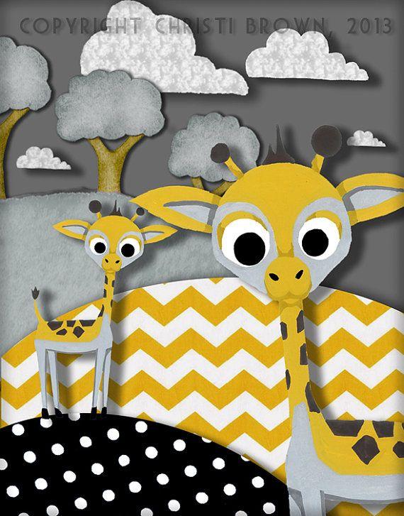 Giraffe kwekerij Decor Art Print gele Chevron door ApplewoodKnoll