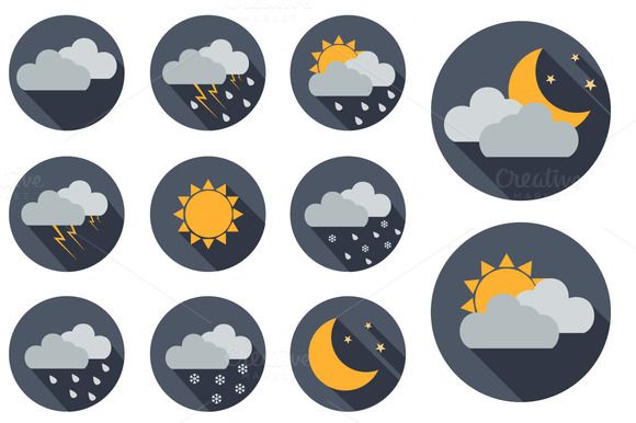 Check out 11 Vector Weather icons. Flat design by Tori's Creative Shop on Creative Market
