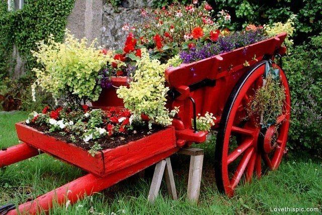 Red Wagon Planter red flowers garden yard wagon planter