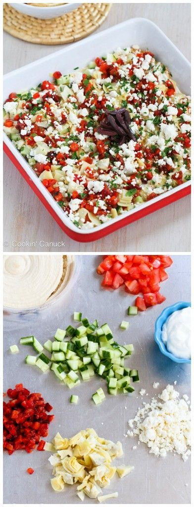 Healthy Mediterranean 7-Layer Dip Recipe...49 calories and 2 Weight Watcher PP