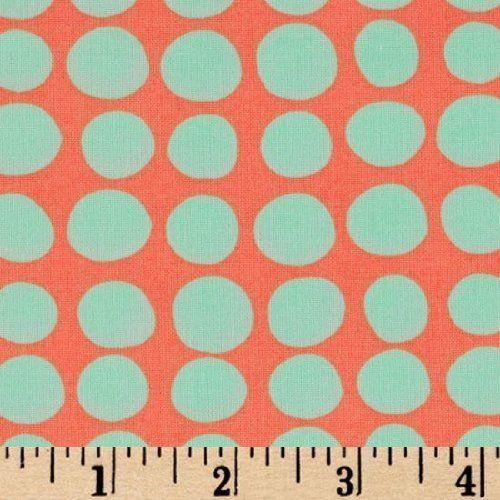 aqua and coral.  Polka dots, how fun :)