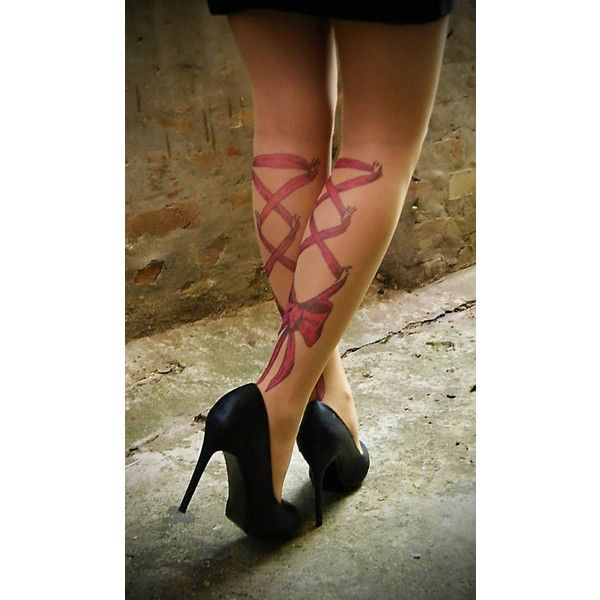 Tattoo-socks, Corset Piercing Legs Red Bow realistic looking tattoo... ❤ liked on Polyvore featuring intimates, hosiery, tights, print tights, corset stockings, patterned tights, red stockings and sexy tights