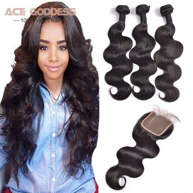 ACE GODDESS brand 7A Malaysia With Closure Free Middle Three Part Closure Virgin Bundles Body Wave Human Hair Extensions