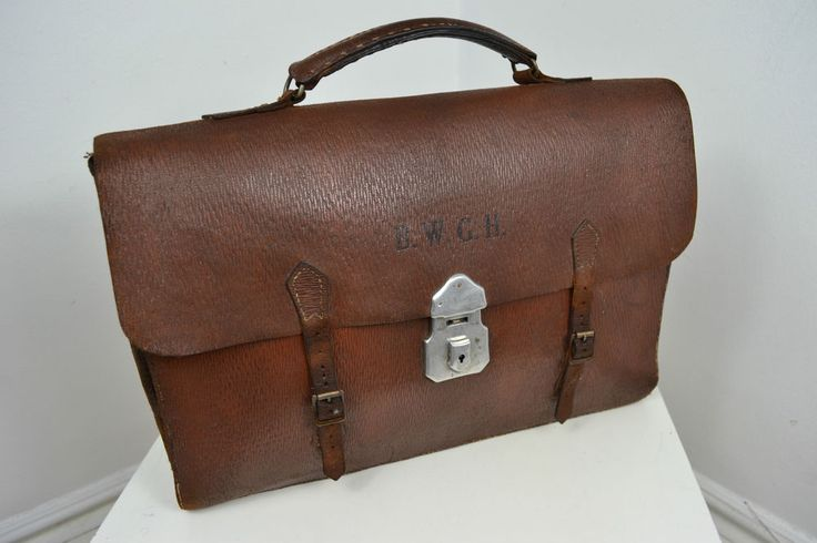 Vintage 1940 S English Made Brown Leather Briefcase Case