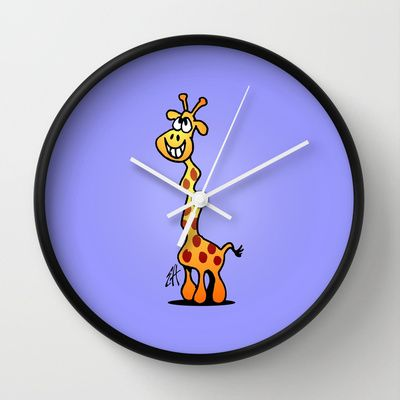 Joyfull Giraffe Wall Clock by Cardvibes - $30.00 #Cardvbes #Tekenaartje #Society6