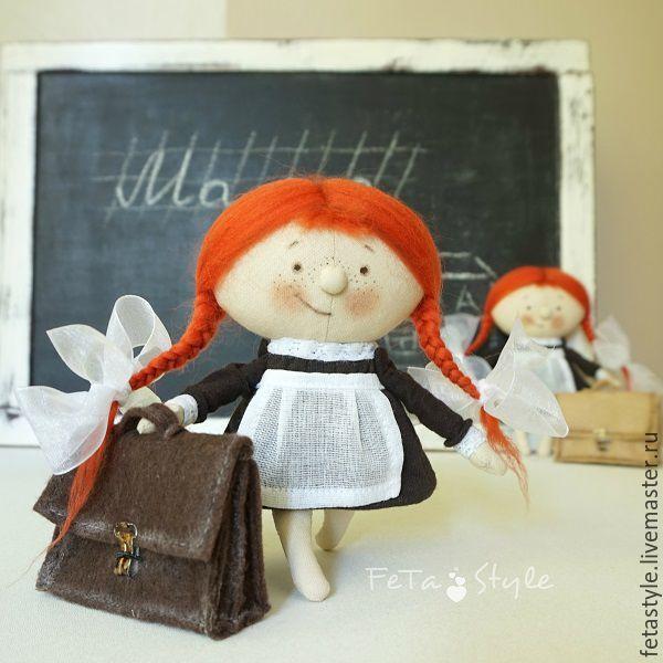 Купить Девочка и Портфель Рыжая Школьница Кукла текстильная - кукла малышка, маленькая кукла
