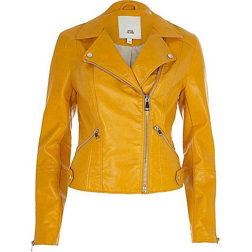 Mustard yellow faux leather biker jacket - jackets - coats ...