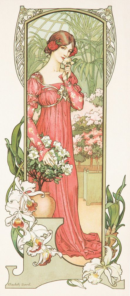 Original Vintage Poster Elisabeth Sonrel Fleurs de Serre Art Nouveau French Girl