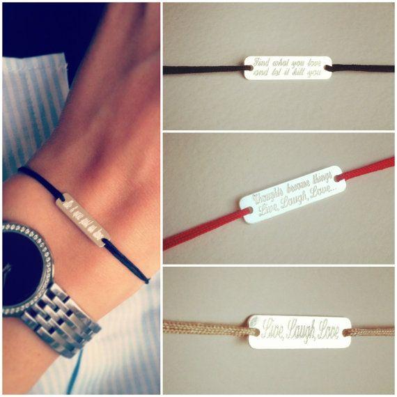 Personalized bracelet custom engraved sterling silver by Ingriko