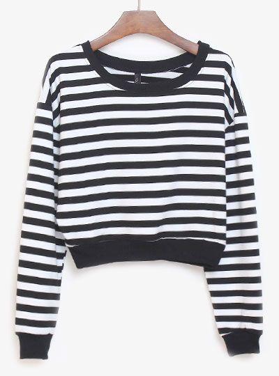 Black White Striped Long Sleeve Crop Sweatshirt - Sheinside.com