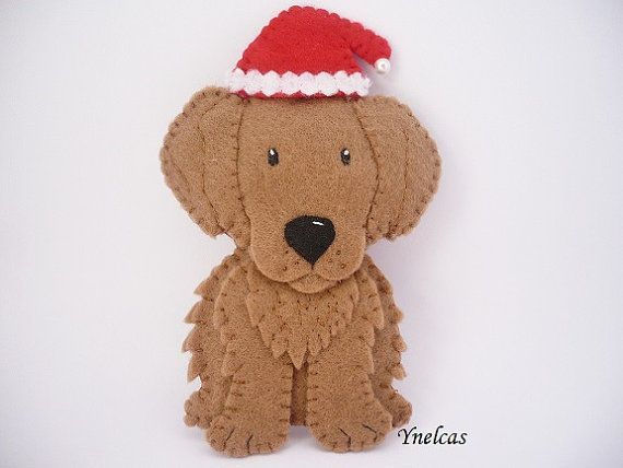 Dog Christmas Ornament - Felt Dog ornament Golden Retriever Dog  • felt • measures about 4 tall • stuffed with polyester fiberfill • items come from a smoke free home • all my pieces are 100% handmade • Not suitable for small children due to pin, small parts, etc.  Click the link below to see the rest of the shop! www.etsy.com/shop/ynelcas  More ornaments: https://www.etsy.com/shop/ynelcas?section_id=6978008&ref=shopsection_leftnav_4  Thanks for visiting and supporting the handmade community