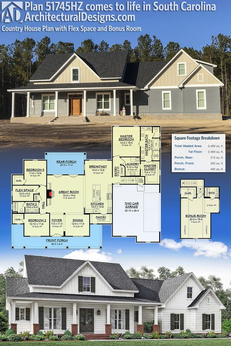 Plan 51745HZ Country House Plan with Flex