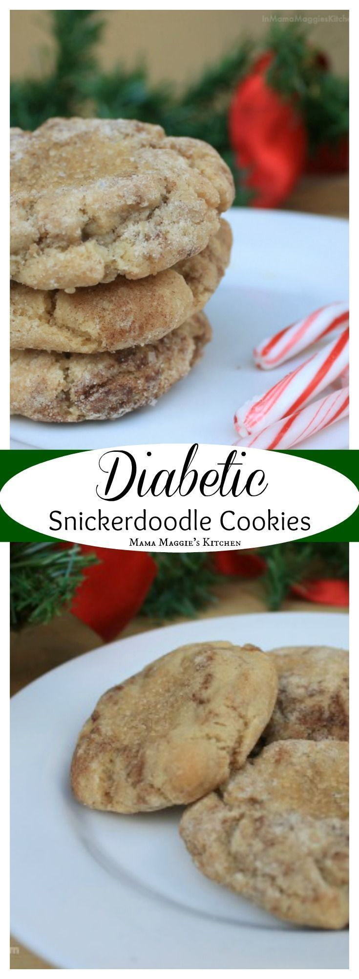 Diabetic Snickerdoodle Cookies - low carb and delicious cookies. Perfect sweet treat to take to those who are watching their carbohydrates during the holidays. By Mama Maggie's Kitchen