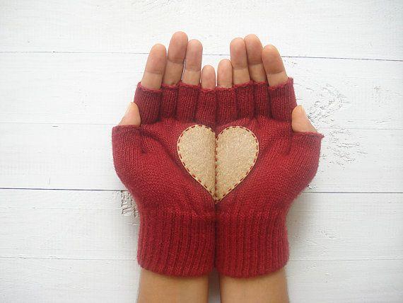 Heart Fingerless Gloves