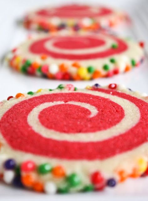 Colorful Spiral Cookies: Sugar Cookies, Christmas Cookies, Sprinkles Cookies, Colors Spirals, Shortbread Cookies, Baking Sales Ideas, Cookies Exchange, Pinwheels Cookies, Spirals Cookies
