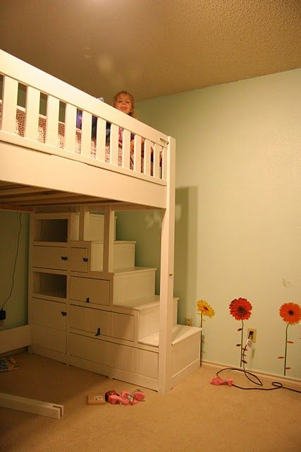 loft bed Love this one with curtains hanging around the bottom!  Perfect way for three or four girls to share a room without taking up all the floor space. While still giving them their own space, under their beds. Also has stairs for the little ones to get up easier!