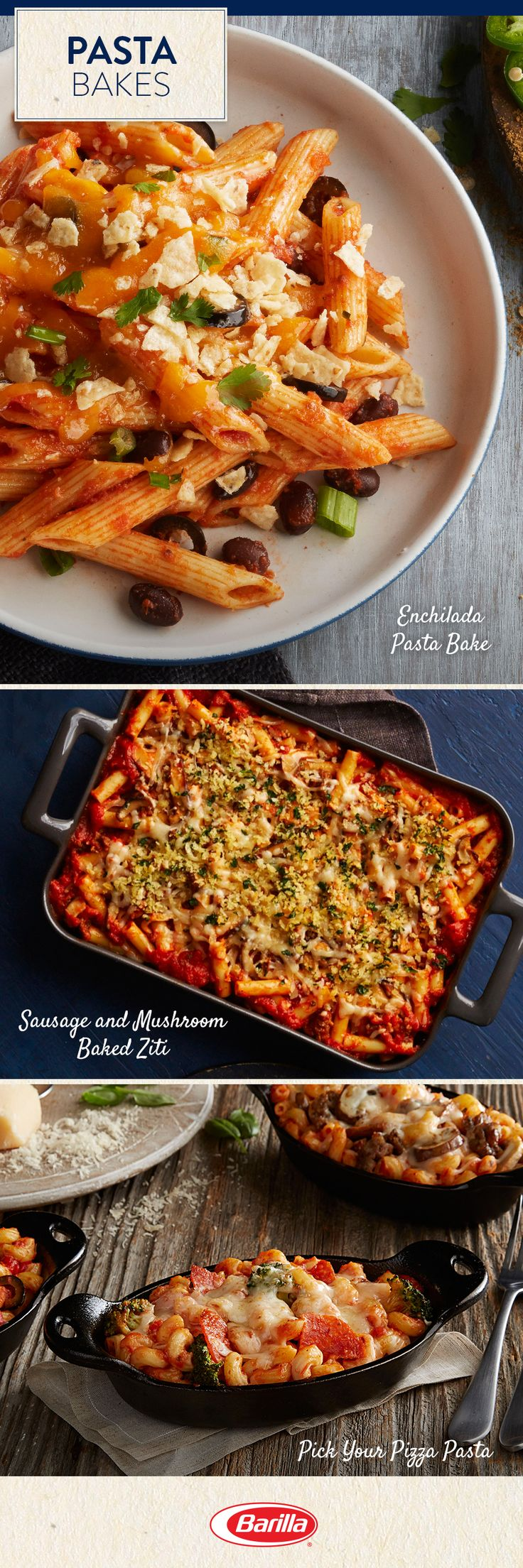 If you love hearty pasta bakes, save this pin to discover some of the ones we love most! With flavors of enchilada, sausage & mushroom and pizza, you're bound to find a favorite.