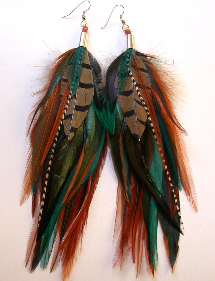 Long Feather Earrings - Woodlands Feather Earrings