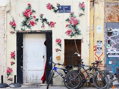 This embroidered street art installation is pretty much pure loveliness.